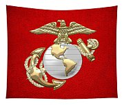 U. S. Marine Corps Eagle Globe And Anchor - E G A On Red Leather Tapestry