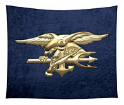 U. S. Navy S E A Ls Emblem On Blue Velvet Tapestry