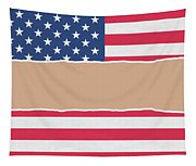 Usa Wrapping Paper Torn Through The Centre Tapestry