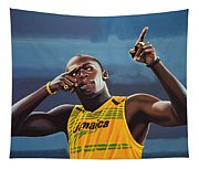 Usain Bolt Painting Tapestry
