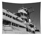 Uss Iowa Battleship Portside Bridge 01 Bw Tapestry
