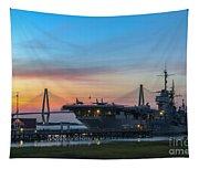 Uss Yorktown Sunset Tapestry