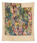 Utah Map Vintage Watercolor Tapestry