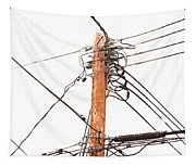 Utility Pole Hung With Electricity Power Cables Tapestry