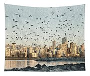 Vancouver Skyline With Crows Tapestry