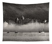 Vancouver Skyline With Fog Over English Bay Tapestry