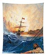 Vasco Da Gama's Ships Rounding The Cape Tapestry