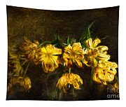 Vase Of Yellow Tulips Tapestry