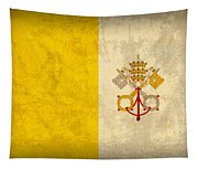 Vatican City Flag Vintage Distressed Finish Tapestry