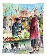 Vegetables Seller In A Provence Market Tapestry