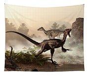 Velociraptors Prowling The Shoreline Tapestry