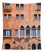 Venetian Building Wall With Windows Architectural Texture Tapestry
