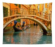Venice Boat Bridge Oil On Canvas Tapestry