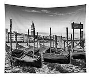 Venice Grand Canal And Goldolas In Black And White Tapestry