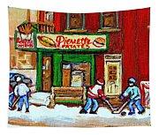 Verdun Hockey Game Corner Landmark Restaurant Depanneur Pierrette Patate Winter Montreal City Scen Tapestry