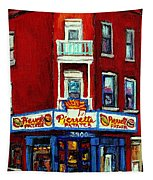 Verdun Landmarks Pierrette Patates Resto Cafe  Deli Hot Dog Joint- Historic Marquees -montreal Scene Tapestry