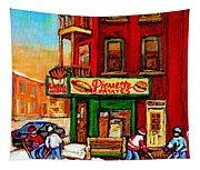 Verdun Street Hockey Pierrettes Restaurant Rue 3900 Verdun -landmark Montreal Hockey Art Work Scenes Tapestry