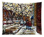 Verdun Winter Row Houses In January Montreal Paintings Time For A Walk Carole Spandau Tapestry