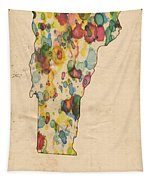 Vermont Map Vintage Watercolor Tapestry