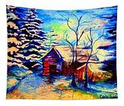 Vermont Winterscene In Blues By Montreal Streetscene Artist Carole Spandau Tapestry