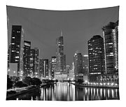 View Down The Chicago River Tapestry