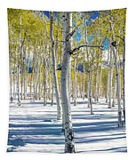 View Of Aspens In Fresh Winter Snow Tapestry