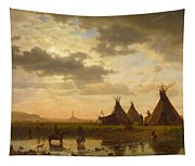 View Of Chimney Rock Ohalila .sioux Village In The Foreground Tapestry