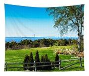 View Of Mackinac Bridge From Mackinac Island Tapestry