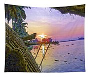 View Of Sunrise From A Houseboat Tapestry