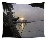 View Of Sunrise From The Window Of A Houseboat Tapestry
