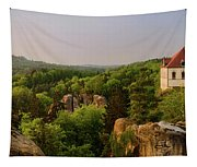 View Of Trosky Castle In A Village Tapestry