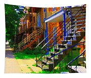 View Of Verdun Steps Stairs Staircases Winding Through Summer  Montrealstreet Scenes Carole Spandau Tapestry