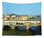 View On Ponte Vecchio From Uffizi Gallery Tapestry