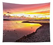 View Opposite Of Mackinac Bridge From Mcgulpin Point At Sunset. Tapestry