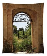 View Through The Monastery Window Tapestry