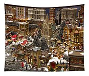 Village Christmas Scene Tapestry