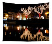 Village Reflected In The Water Tapestry