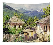 Village Scene In The Mountains Tapestry