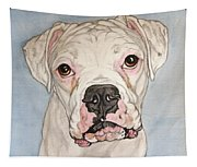 Vinnie The White Boxer Tapestry