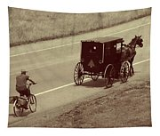 Vintage Amish Buggy And Bicycle Tapestry