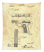 Vintage Automatic Pistol Patent Tapestry