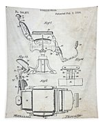 Vintage Barber Chair Patent Tapestry