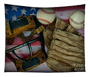 Vintage Baseball American Folk Art Tapestry