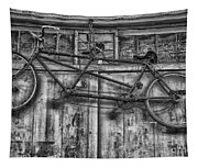 Vintage Bicycle Built For Two In Black And White Tapestry