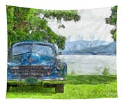 Vintage Blue Caddy At Lake George New York Tapestry