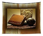 Vintage Book Fossil And Carved Orb Tapestry