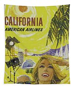 Vintage California Travel Poster Tapestry