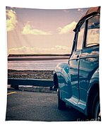 Vintage Car At The Beach  Tapestry