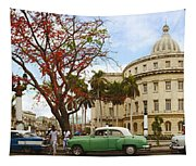 Vintage Cars Parked On A Street Tapestry