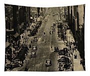 Vintage Downtown View Tapestry